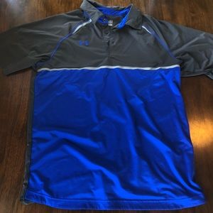 Men's Under Armour Loose Heat Gear Grey Blue Polo